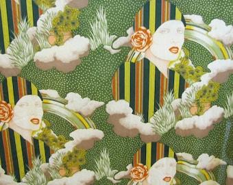 1960's Art Deco Revival Mod Portrait Fabric, Revival, Art Deco, Art Nouveau, Mod, 1960's, 1970's, Green, Faces, Portrait, Sunflower, Rainbow