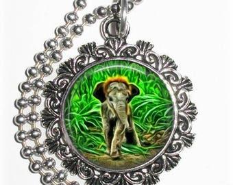 Baby Elephant Art Pendant, Lucky Resin Pendant, Animal Photography Art, Photo Pendant Charm
