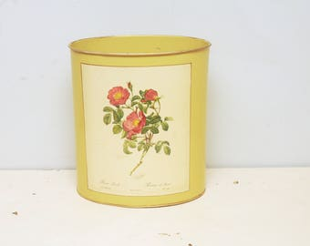 Saks Fifth Ave Waste Can Yellow Roses