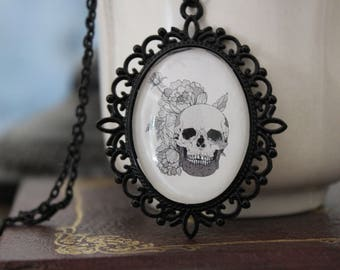 """Floral Skull Cameo Necklace - 30x40mm on 18"""" Chain"""