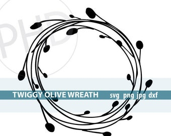 Twiggy Olive Wreath File-svg, png, jpg, dxf