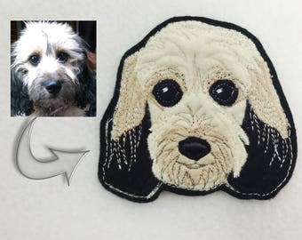 Custom Dog Portrait Patch. Textile Art.