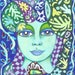 Fantasy Print, Green And Blue , Woman's Portrait, Fantasy Portrait, Woman's Face, Whimsical Woman, Blue And Green Flowers, by Paula DiLeo
