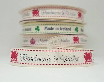 Handmade in Wales grosgrain ribbon. 16mm wide. 5 metres