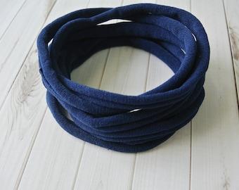 Navy nylon headbands, super thin soft stretchy, one size fits all headband, wholesale nylon headbands, diy headband, elastic headband