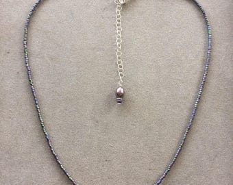 "Large Single Pale Lavender Feshwater Pearl with Iridescent Metalic Delicas, SS chain & Clasp 15.5"" w/2.5"" Ext. Chain"