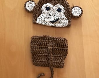 PATTERN Instant Download Monkey Hat and Diaper Cover Newborn baby Shower Gift Crochet Beanie Photo Prop