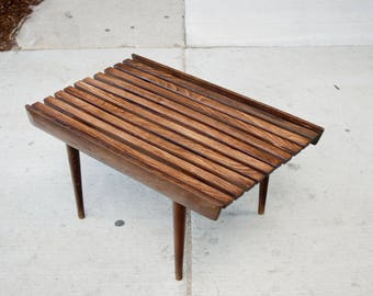 Mid Century Slat Bench/ Coffee Table