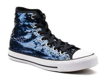 Blue Sequins Converse High Top Holiday Glitter Iridescent Bling Custom w/ Swarovski Cry stal Rhinestone Chuck Taylor All Star Sneakers Shoes