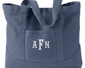 Monogrammed Tote Bag  -  Personalized Canvas Tote Bag  in 7 colors