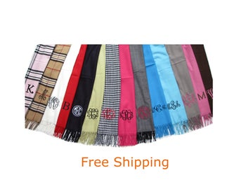 Scarf with Monogram  - Personalized Scarves - Free Shipping