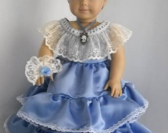 """American Girl 18"""" Doll Blue Satin Victorian Era Gown and Accessories"""