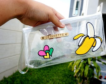 personalized zipper pouch, padded zipper pouch,personlaized pencil bag, back to school, make up organizer, clear pouch, pencil pouch