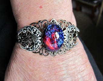 Dragons Breath Opal Gunmetal Cuff, Gothic Triple Moon, Black or Silver Crescents, Med to Large, Made to Order