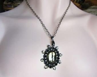 Black Diamond Pendant, Gothic Necklace, Black Pendant, Gunmetal Chain, Swarovsi Rhinestones, Statement Necklace, One of a Kind