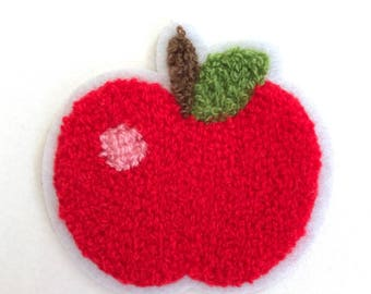 Adorable Red Apple Appliqué Patch Hair Bows, Crafting, Clothing Embellishments, Back to School