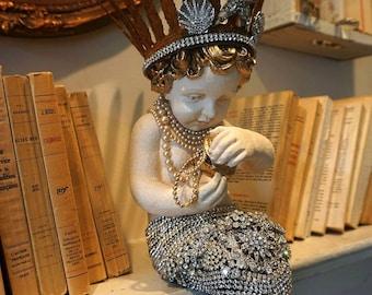 Mermaid statue covered in rhinestone jewelry shabby beach chic aquatic child w/ crown ornate distressed home decor anita spero design