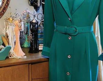 Vintage Henry Lee Emerald Green Dress with Belt