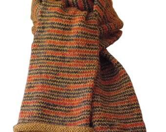 Hand Knit Scarf - Golden Harvest Striped Keepsake Alpaca