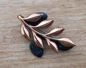 Vintage Renoir Copper and Enamel Leaf Pin