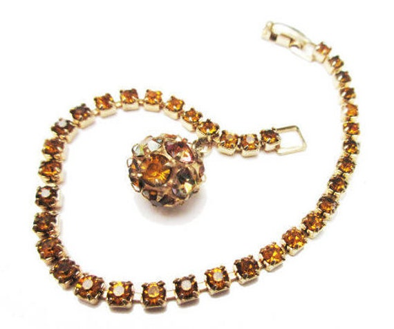 Weiss  Rhinestone Bracelet  - Tennis Bracelet - Amber crystal  - Gold metal - with ball charm