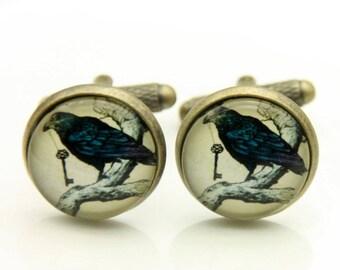 Raven Cufflinks, Gothic Cufflinks, (1616)