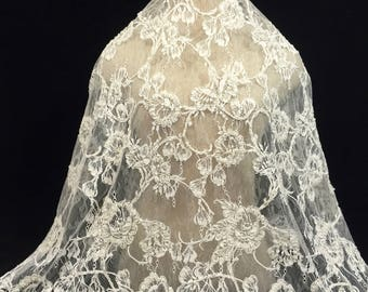 Ivory Lace Fabric, Ivory Lace, Wedding Lace, Bridal Lace, Lace Fabric, Ivory Material, Bridal Supply, Remnant Fabric, Embroidered Lace