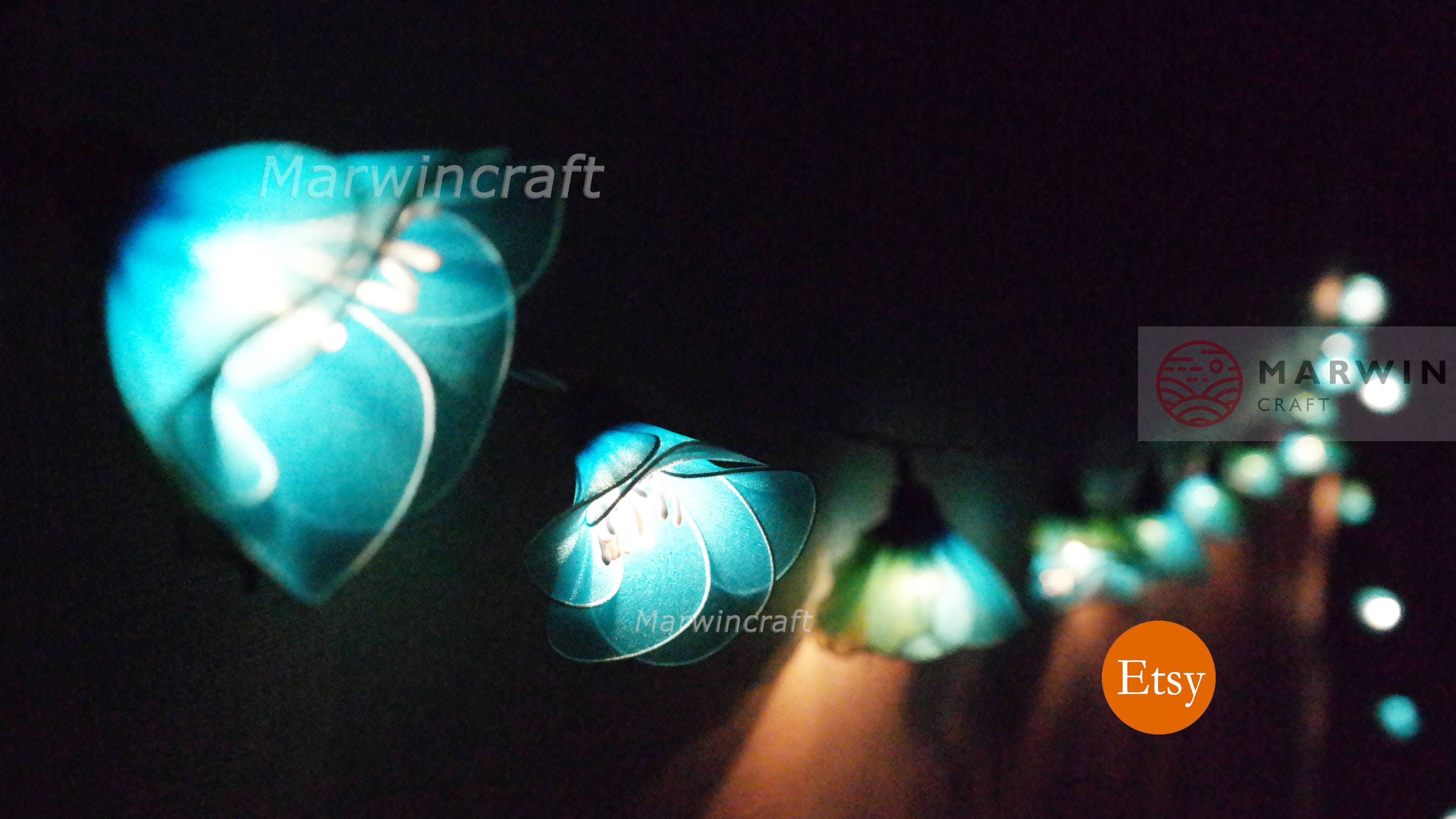 Blue String Lights For Bedroom : 20 Blue String Lights Rain Lilly Flower Fairy Lights Bedroom