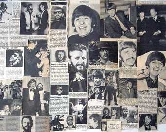 RINGO STARR ~ The Beatles, Love Me Do, I Want To Hold Your Hand, Sentimental Journey ~ B&W Clippings from 1964-1978