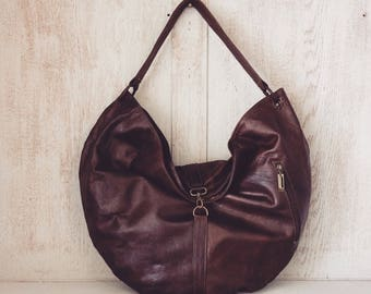 Leather handbag // Boho slouch purse // Soft genuine leather // Gifts for her // Brown // Unique // Natural // Valerie