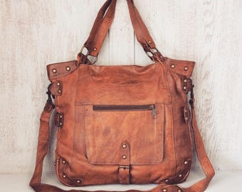 Leather handbag // Boho Purse // Gifts for her // Soft genuine leather // Brown // Natural // Unique // Marllury