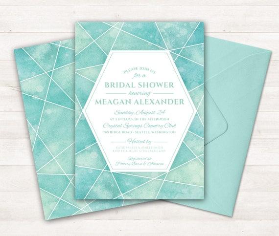 Printable Bridal Shower Invitation Geometric Watercolor Invitation