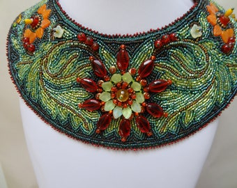 SALE, Jacobean Beaded Embroidery Bib Collar Necklace, Decorative bead Constructed Flowers, Bead Embroidered Leaves, Costume
