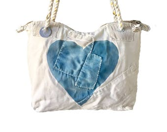 Ali Lamu Small Weekend Bag Natural HEART Turquoise