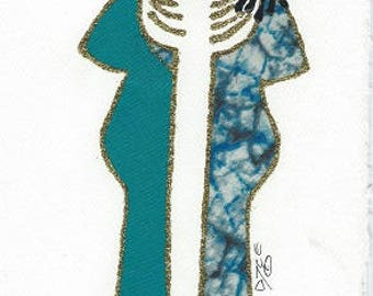 Customizable, Ethnic, African American, Pride Fabric Greeting Cards, Any occasion, blank  cards  -  by PaintedThreads