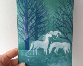 Enamel on Copper Art Plaque Horses and Trees - Enameled Art