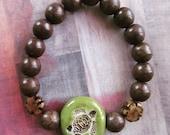 Handmade Ceramic Turtle Beaded Stretch Bracelet with Boho Brown Howlite Beads