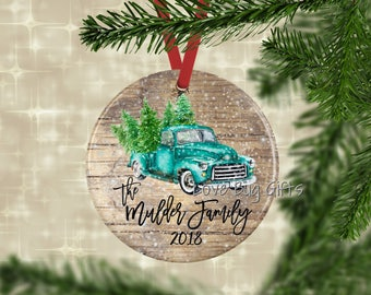 Vintage teal truck with trees • Personalized • Christmas Ornament • Teal truck • Christmas trees