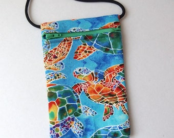 """Pouch Zip Bag SEA TURTLE Rainbow Fabric. Great for walkers markets travel.  Cell Phone Pouch. Many uses. Small blue fabric Purse 6.75""""x4.25"""""""