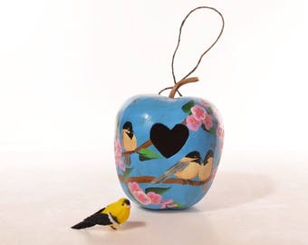 Hand painted chickadees and cherry blossoms gourd birdhouse with heart entrance, natural apple gourd, decorative gourd art