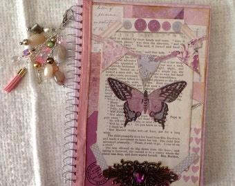 Vintage Style Butterfly Notebook with Charm