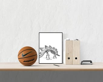 Stegosaurus Dinosaur Skeleton, Playroom Printable, Baby Nursery Room Wall Art, Digital Print
