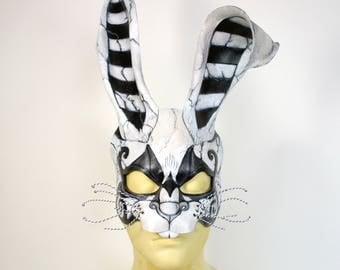 Made To Order Steampunk White Distressed Rabbit Alice in Wonderland Leather Art Cosplay Mask