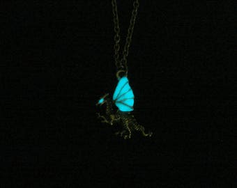 Tiny Dragon Necklace Pendant Dragon Jewelry Glow In The Dark Necklace Antique Bronze