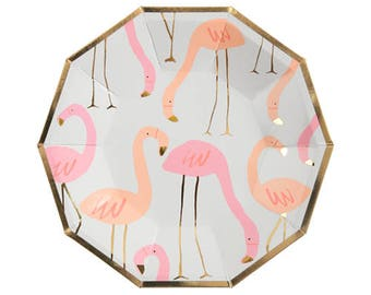 Small Flamingo Paper Plates - Meri Meri- Party Decor Supplies Pastel, Pink, Gold, Birthday, Parties, Summer, Spring, Tropical, Flamingos