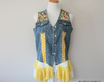 Frida Kahlo Upcycled Jean Vest Shabby Denim Lace Tattered Torn Frayed Sleevless Shirt Size Large by Reloved Clothing Co