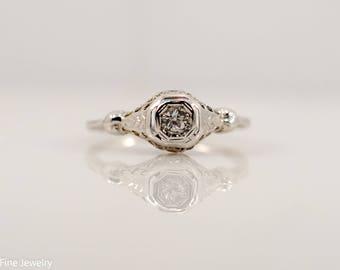 1/10 Carat Old European Cut Diamond Solitaire Engagement Ring Vintage Antique