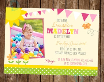 Sunshine Birthday Invitation - Sunshine Birthday Invite - Sunshine Invitation - You are my sunshine birthday - Little Miss Sunshine Birthday