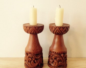 beautiful carved wooden candlesticks / candle holders