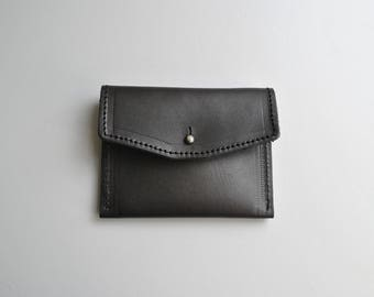 Metallic leather purse 'Graphite' sturdy shimmery grey unlined sam brown silver stud fastening perfect size for coins & cards small little